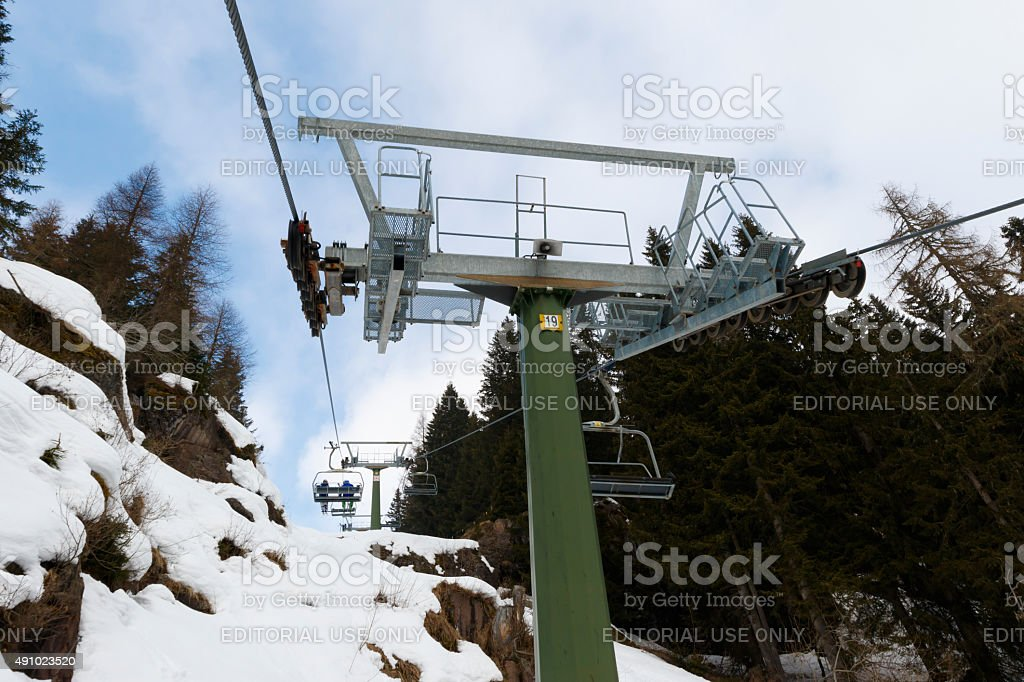 chairlift Molino - Le Buse stock photo