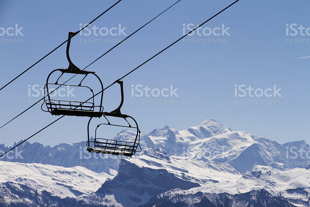 Chairlift Mont Blanc stock photo