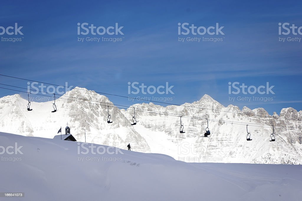 Chairlift on alps royalty-free stock photo