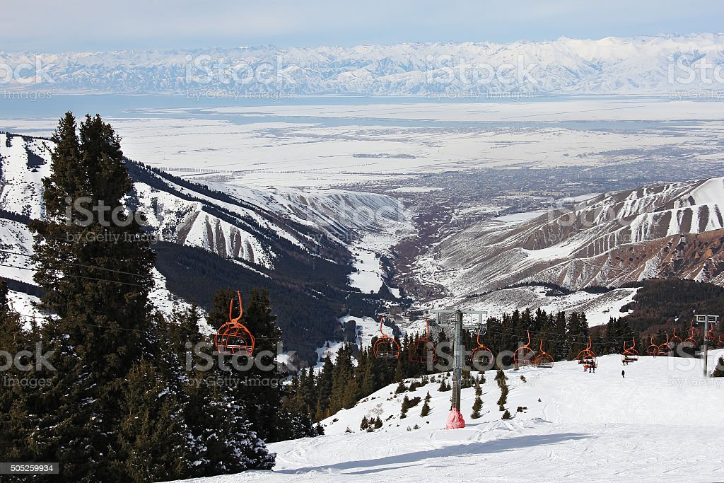 chairlift on the slope, winter stock photo