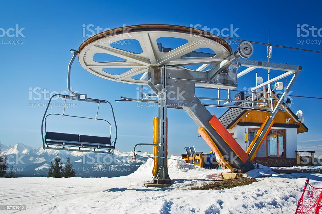 Chairlift station in the Mountains stock photo