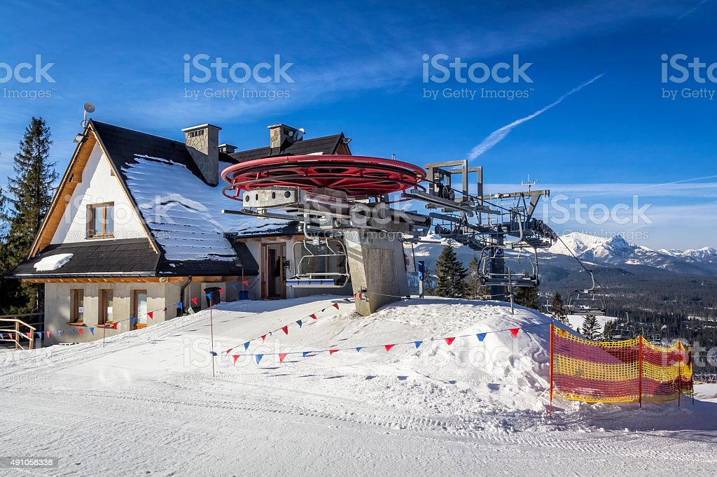 Chairlift station in the Tatra Mountains, Poland stock photo