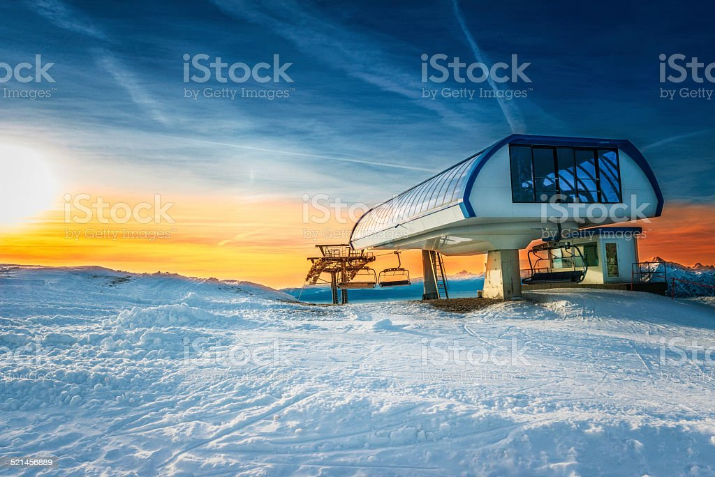chairlift station stock photo