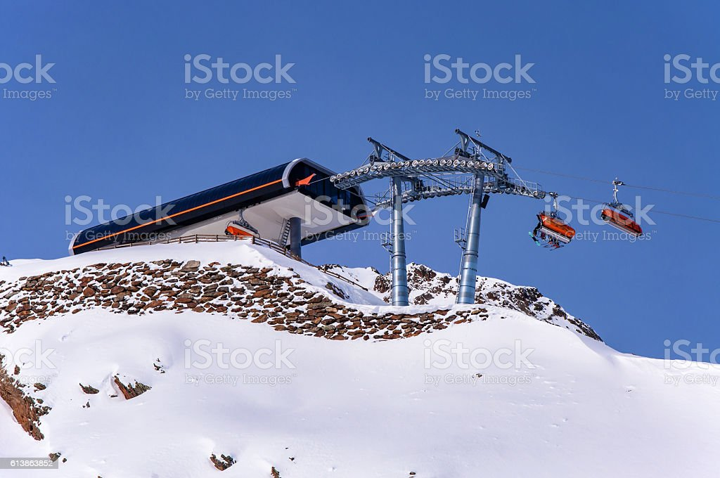 Chairlift top station in Austrian Alps stock photo