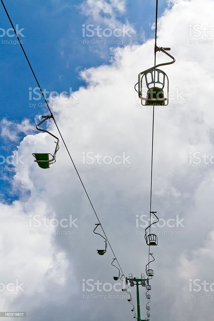 Chairlift Up To The Clouds royalty-free stock photo