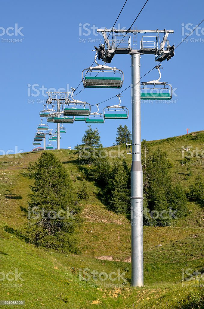 Chairlifts at La Plagne in France stock photo