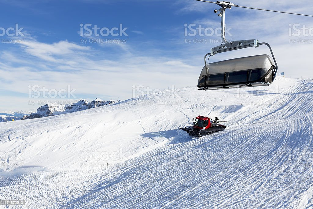 Chairlifts - Cable car  in Alps royalty-free stock photo