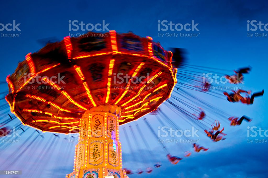 chairoplane at blue hour/sunset stock photo