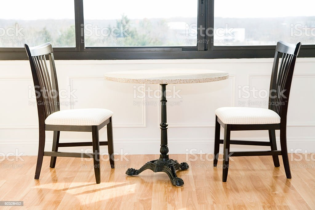 chairs and a table stock photo