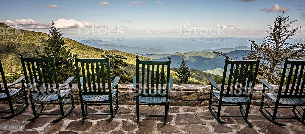 chairs and beautiful mountain view stock photo