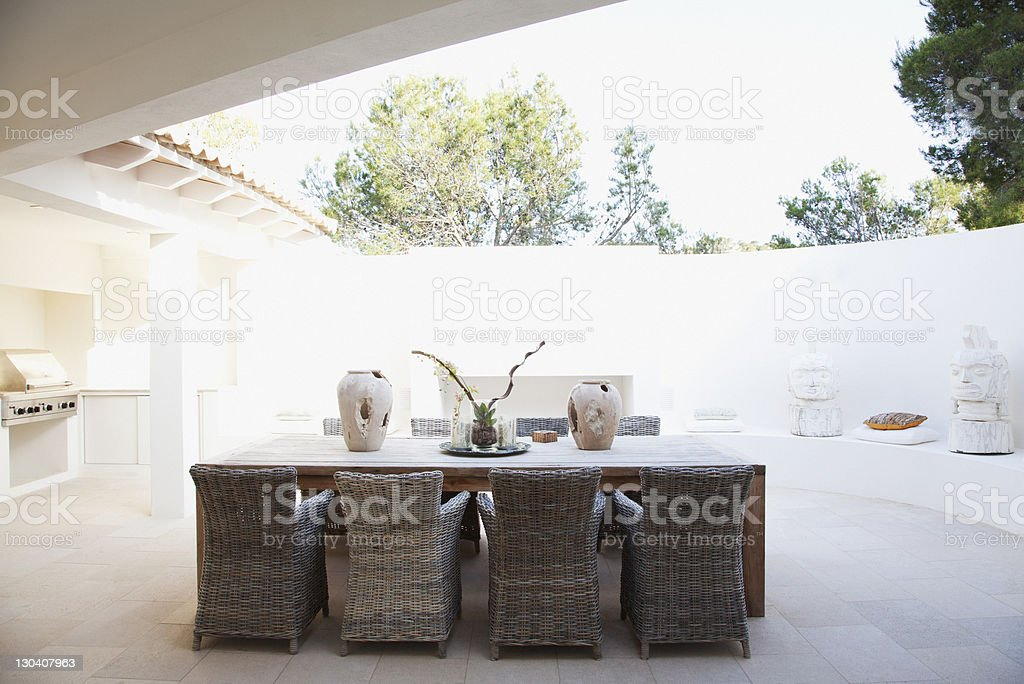 Chairs and table in modern dining room royalty-free stock photo