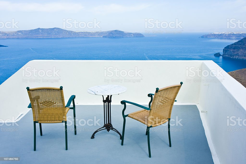 chairs and table on terrace royalty-free stock photo