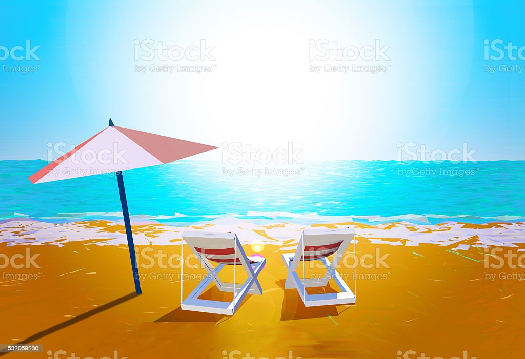 Chairs and umbrella on the beach stock photo