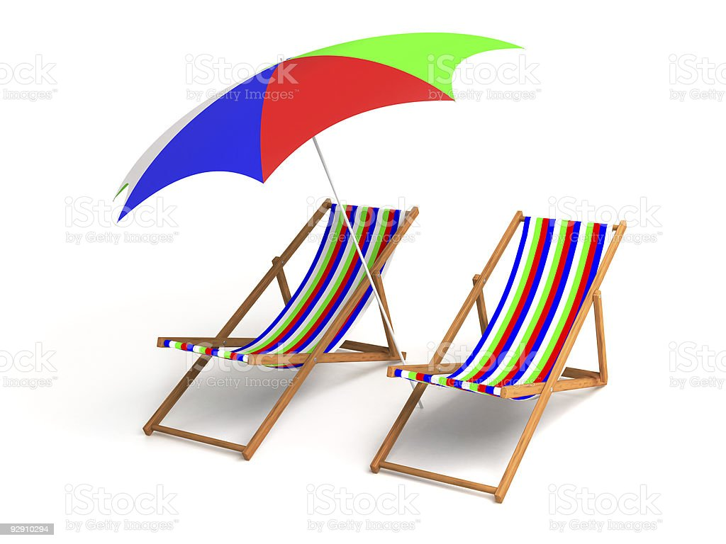 Chairs and Umbrella royalty-free stock photo