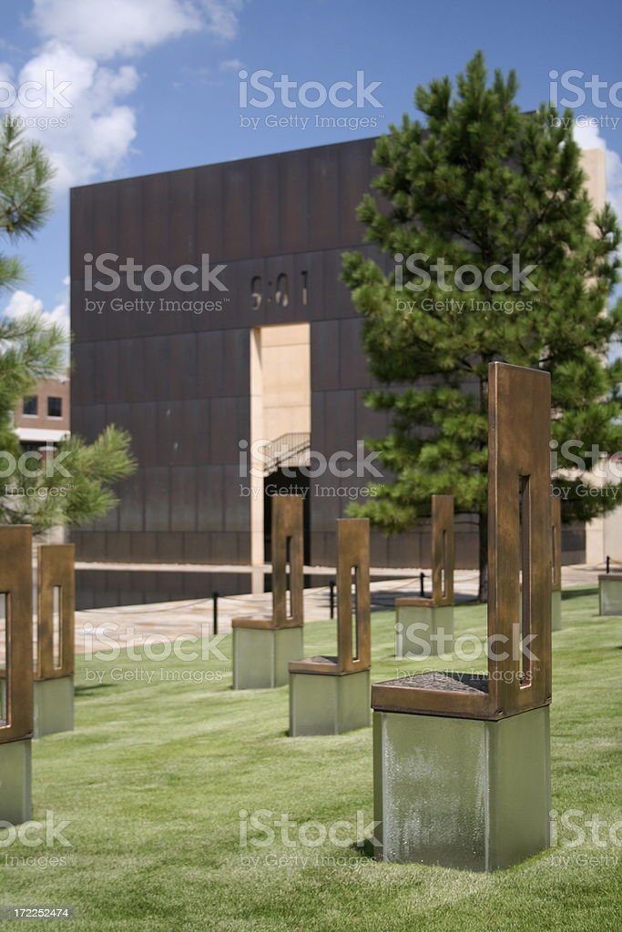 Chairs at the OKC Bombing Site stock photo