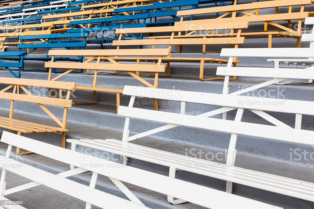 Chairs Benches Blue Yellow White stock photo