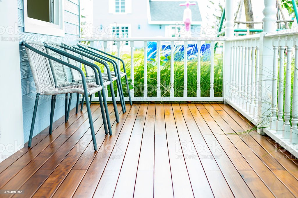 Chairs for relax on wooden front porch royalty-free stock photo