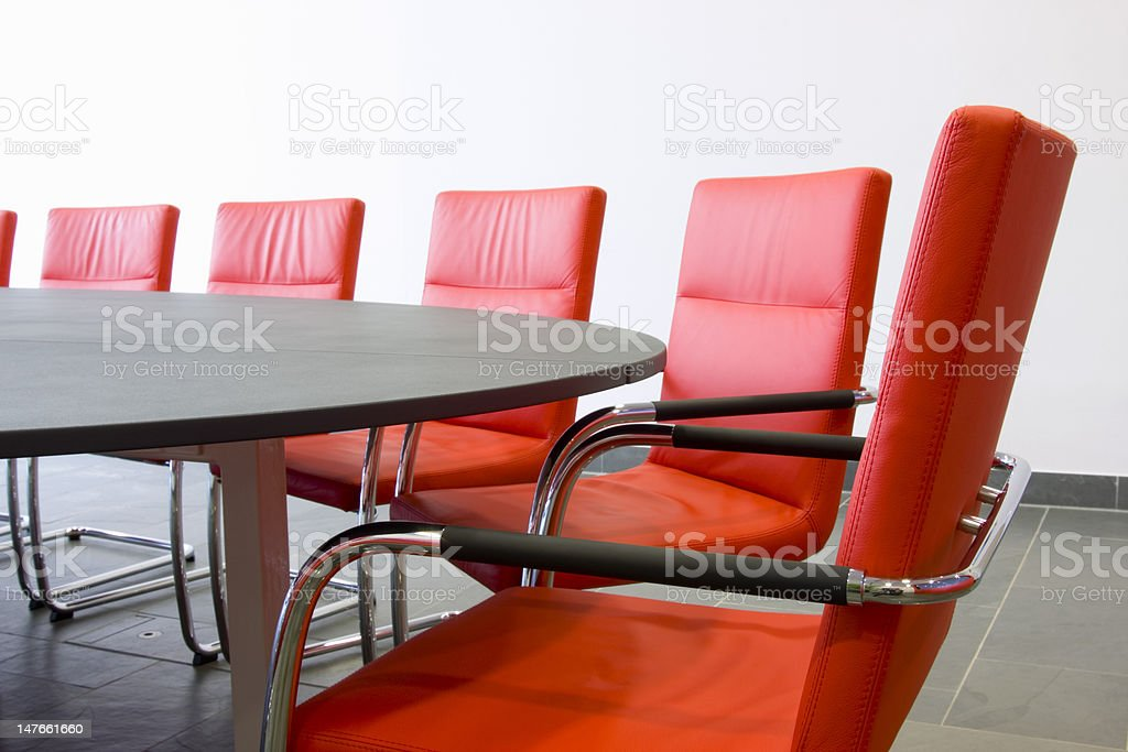 Chairs in a conference room stock photo