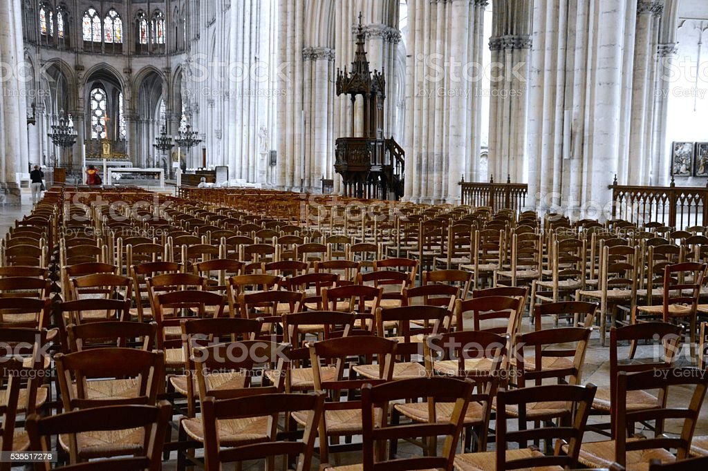 Chairs in a French Cathedral, Troyes stock photo