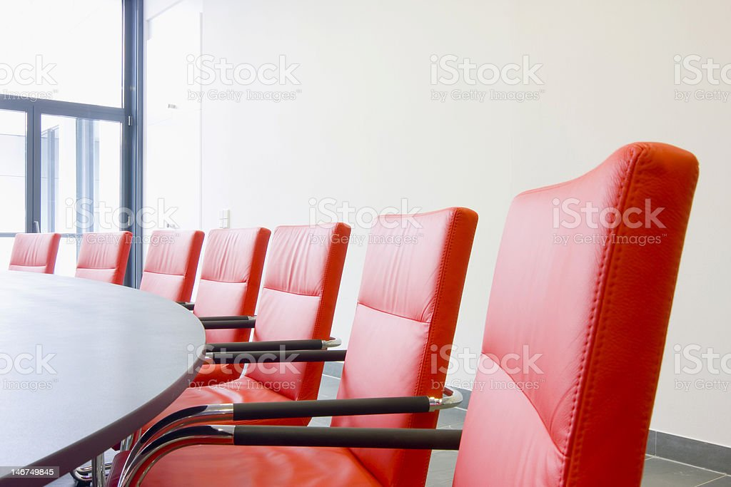 Chairs in a meeting room stock photo