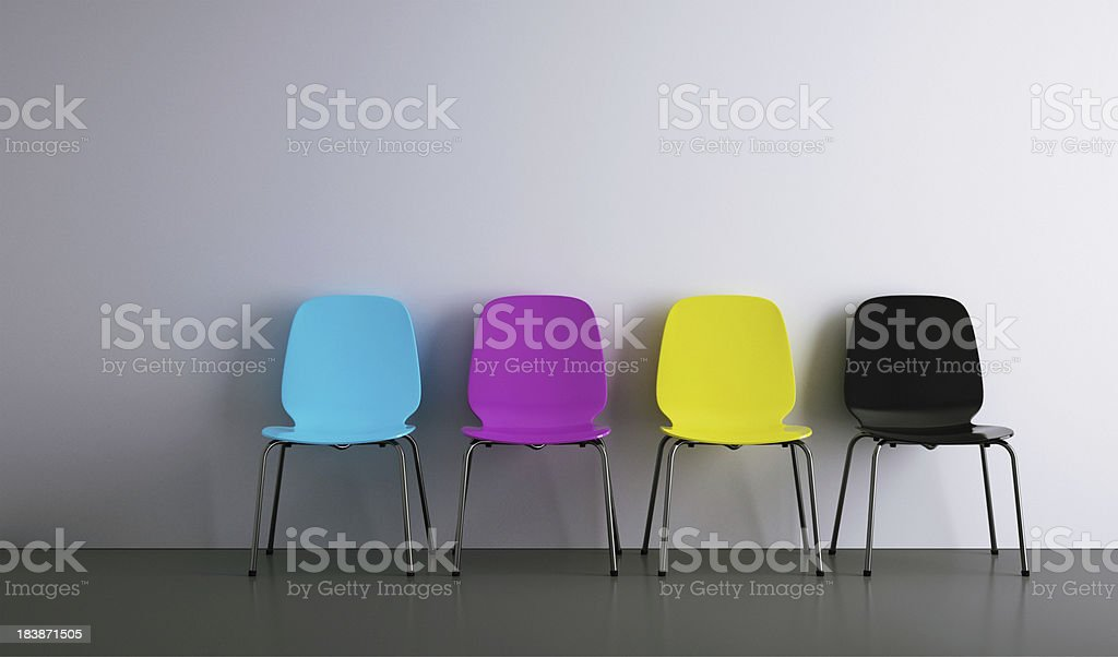 chairs in a row cmyk stock photo