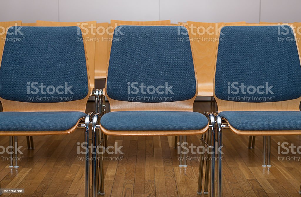 Chairs in a row stock photo