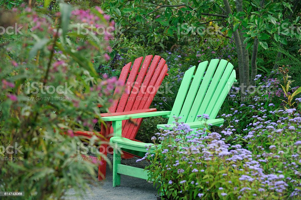 Chairs in Garden stock photo