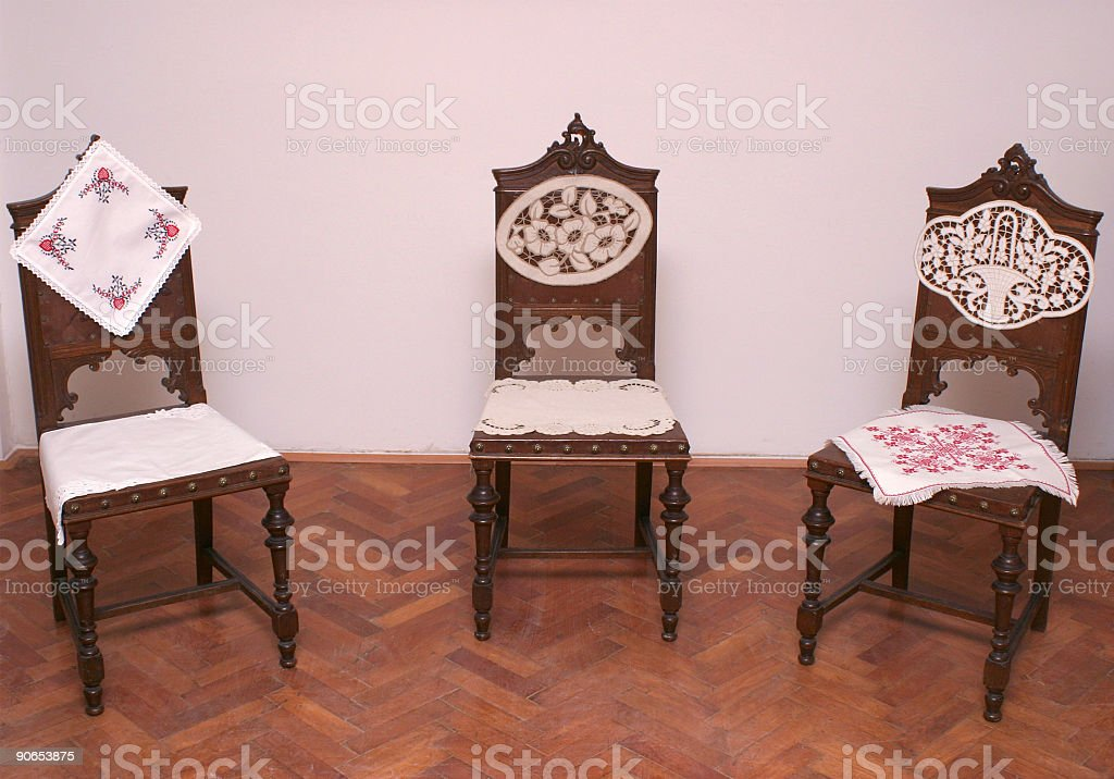 Chairs in laces stock photo