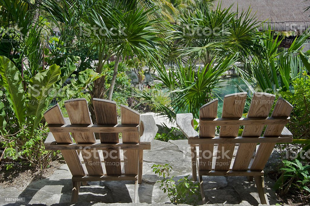 Chairs in the garden royalty-free stock photo