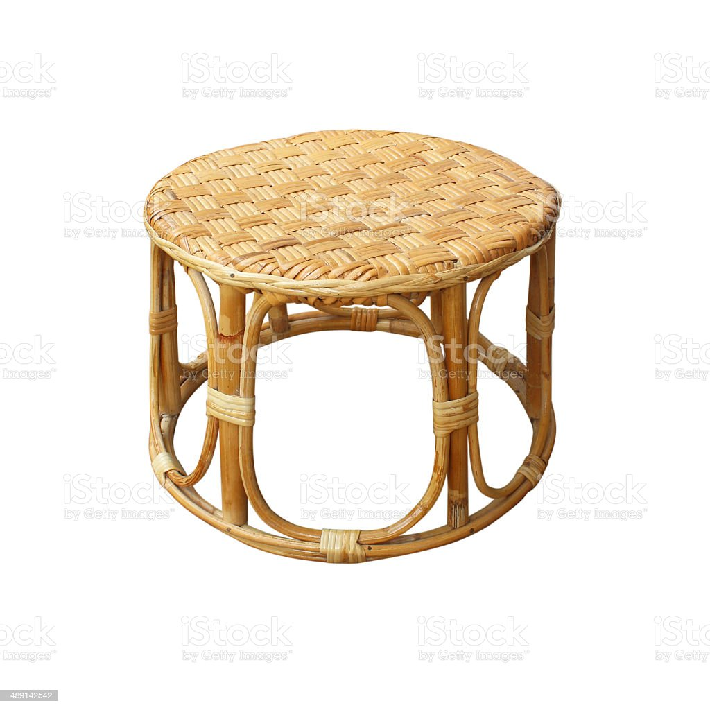 Chairs made of woven rattan on white background stock photo