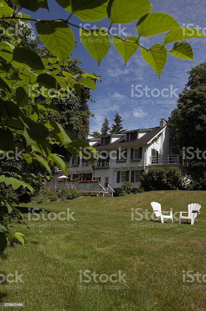 Chairs on a lawn stock photo