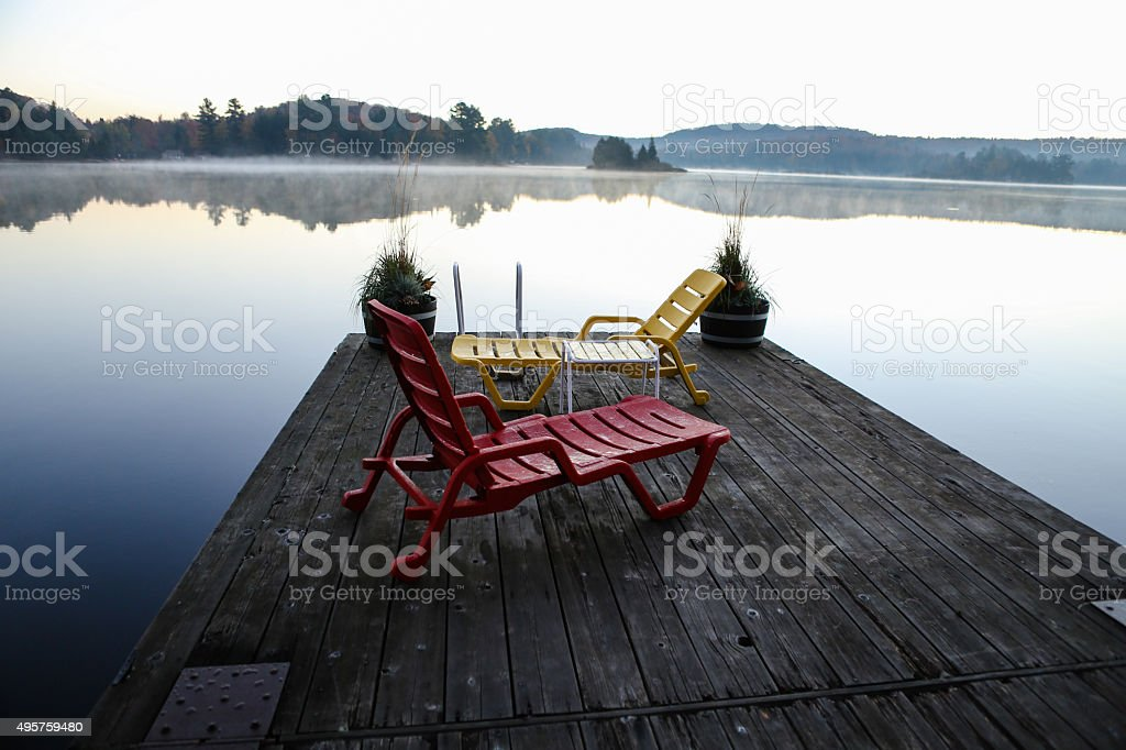 Chairs on a Misty Morning stock photo