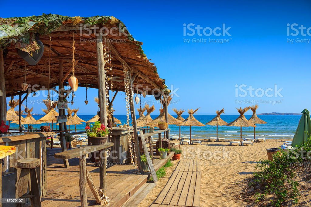 Chairs on the beach stock photo