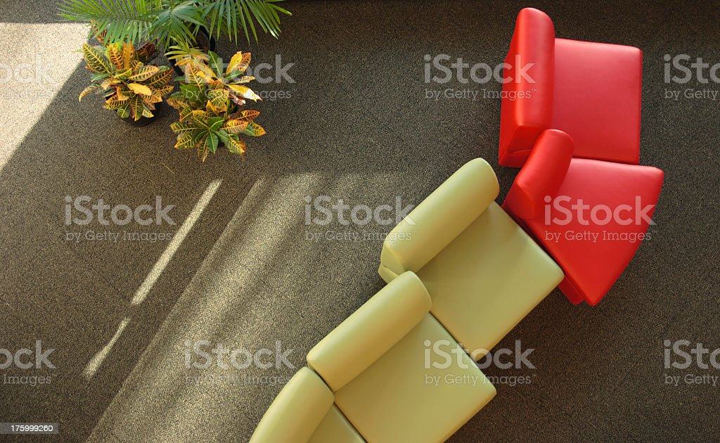 Chairs, Plants and shadows royalty-free stock photo