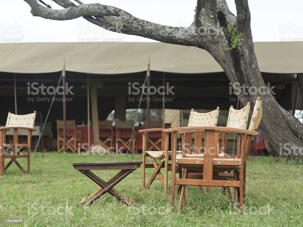 Chairs, table and tent on the Serengeti Park royalty-free stock photo