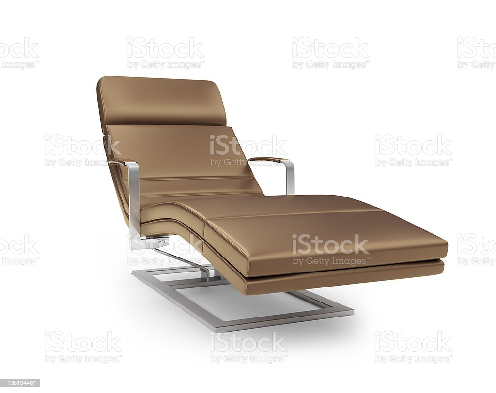 Chaise lounge against white royalty-free stock photo