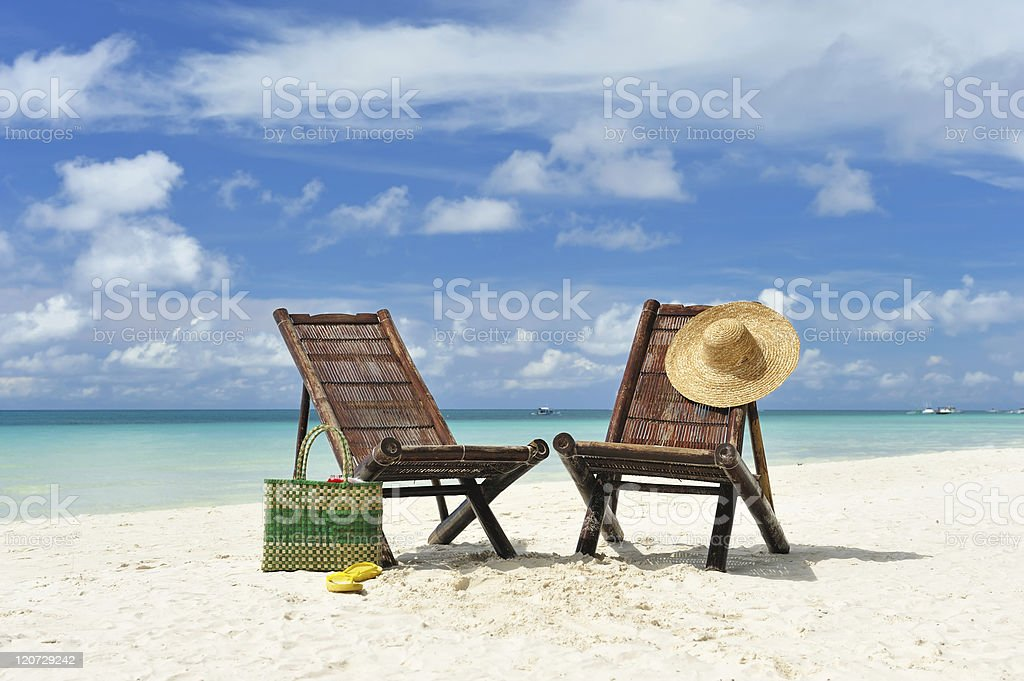 Chaise lounge at beach royalty-free stock photo