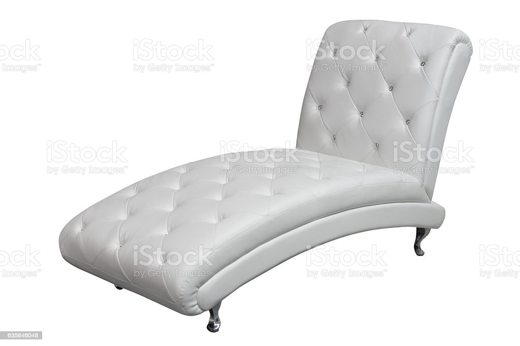 chaise lounge with white leather upholstery stock photo
