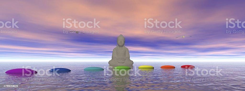 chakras and buddha stock photo