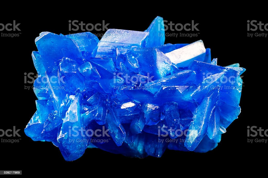Chalcanthite blue stone copper sulfate crystals isolated on black stock photo