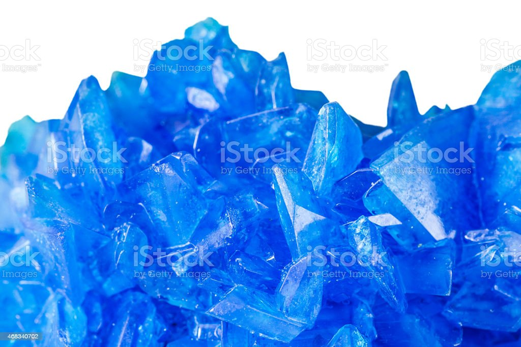 Chalcanthite blue stone copper sulfate crystals on white background stock photo