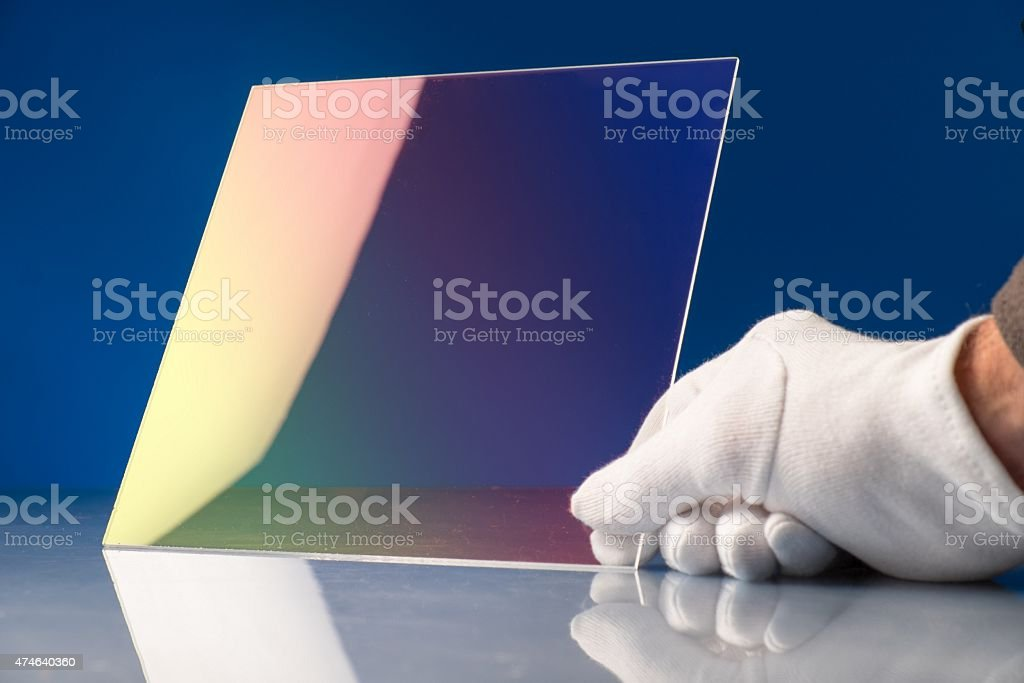 Chalcogenide glass used in a photonic integrated optical circuit stock photo