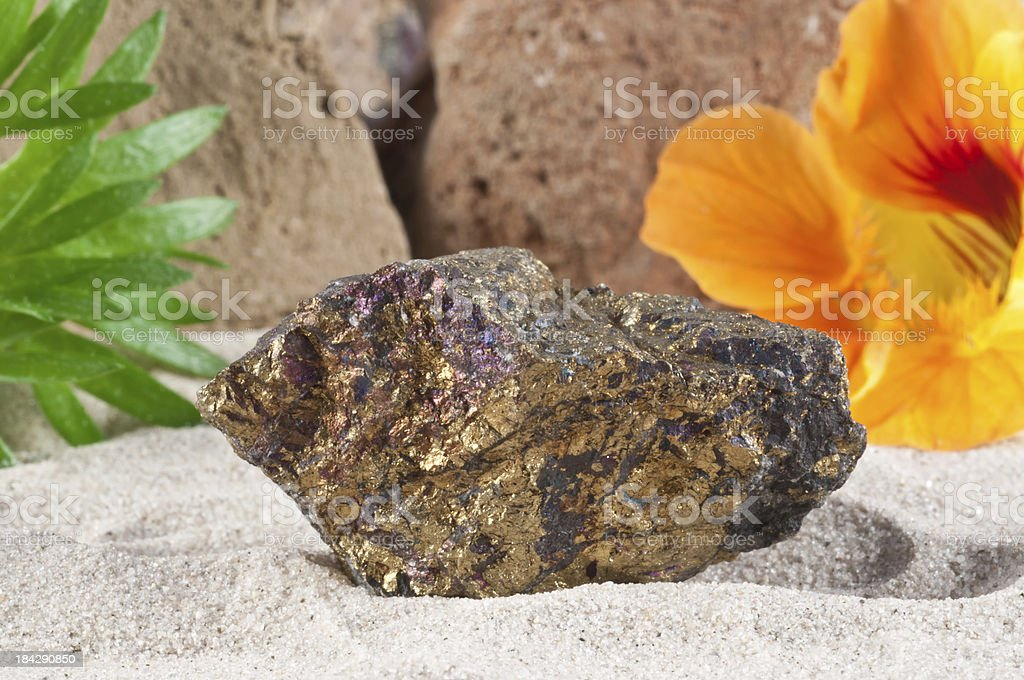 Chalcopyrite - half precious stone. guaranteed authentic stock photo
