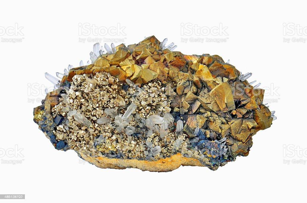 Chalcopyrite, pyrite and calcite stock photo