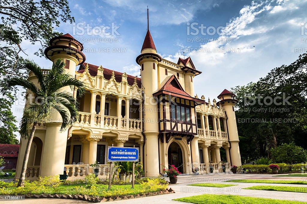 Chaleemongkolasana Residence landmarks the Sanam Chandra Palace stock photo