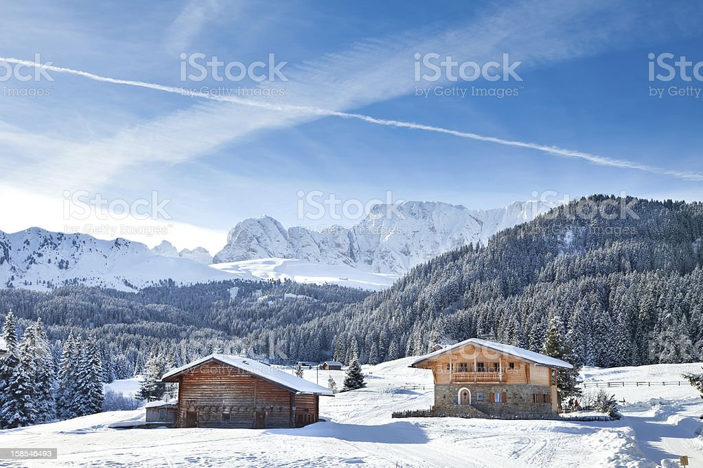 Chalet In The Dolomite Alps stock photo