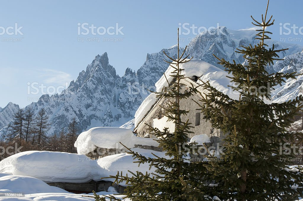 Chalet in Val Ferret Courmayeur, Aosta Valley, Italy royalty-free stock photo