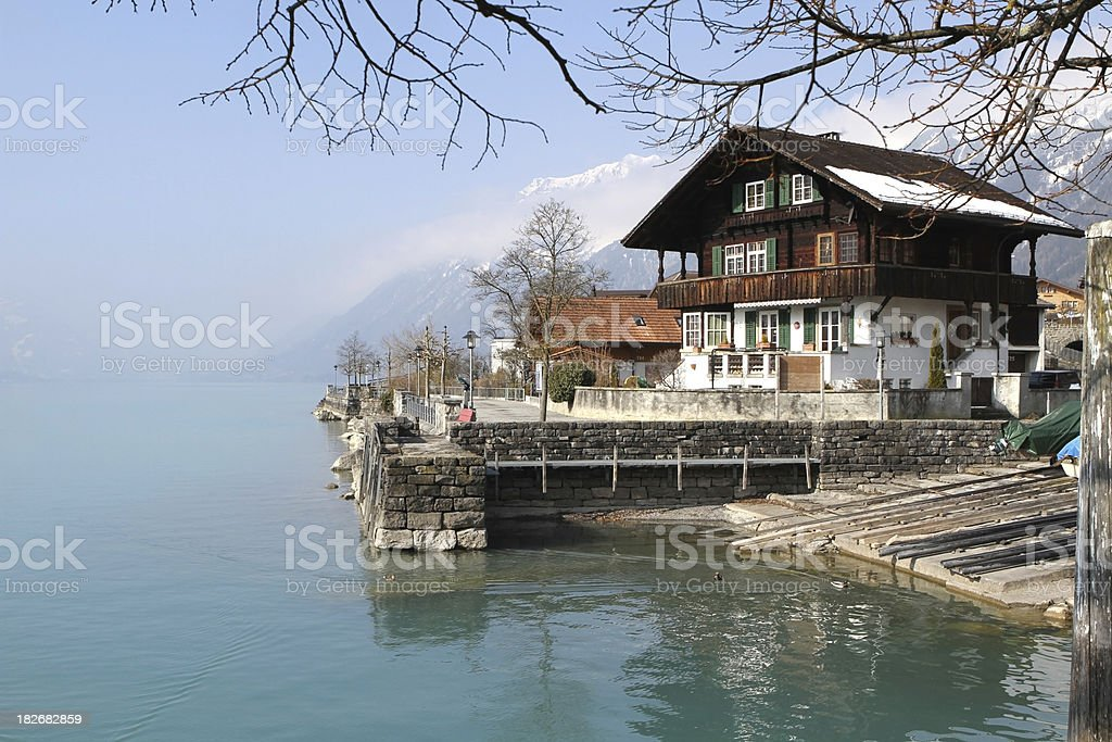 Chalet on the lake, Brienz, Berne, Switzerland. stock photo