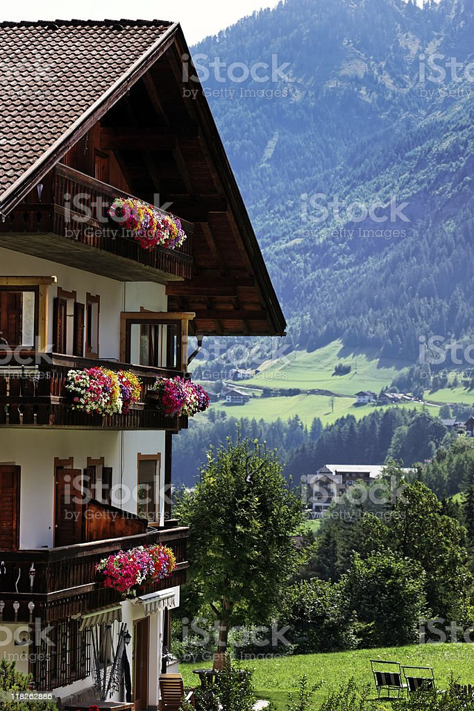 Chalet with Flower. Color Image royalty-free stock photo