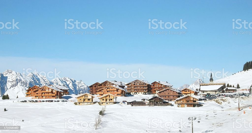 Chalets in the mountain stock photo